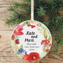 First Christmas Married Ceramic Keepsake Decoration - Floral Watercolour Wreath Design